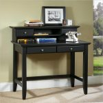black writing desks for small spaces with hutch and drawers underneat plus phone and photo frame plus area rug