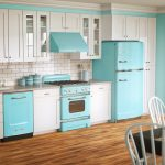 blue gas stove and cabinet and also blue refrigerator some small containers in light and darker blue tone colors a set of dining furniture bamboo floors idea white painted cabinets on top