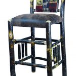 bohemian  upholstered bar stool design with bamboo legs and back with gorgeous patterned bolster