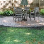 circle brick paver calculator for beautiful patio and wooden seats and table plus garden and wooden fence