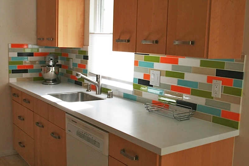 Colorful Backsplash Tiles Design For Small Kitchen Wooden Cabinetry White Countertop Sink And Faucet