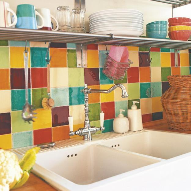 Colorful Kitchen Backsplash Tiling Idea Double Sinks And Single Faucet Metal Floating Shelf For Organizing