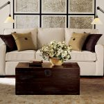 Comfortable Pottery Barn Sofa Reviews In White Plus Brown Cushioms And Unique Coffee Table And Lovely Rug Plus Decorative Standing Lamp And Maps On Wall