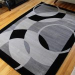 contemporary black and gray area rugs for living room on hardwood floor