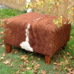 cow hide Ottoman in rustic style