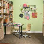 crafting room with big open shelves made from wooden black desk for crafting modern wood chair s with wheels unique wall mount crafting stuffs hanger