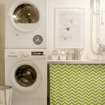 Decorative Laundry Room Design With White Painted Wall And White Smallest Stackable Washer Dryer Design With Chevron Pattern Iron Board