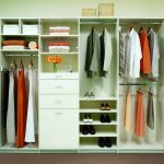 easy closet organization ideas for bedroom with hanging rods and shoe organizer and drawer