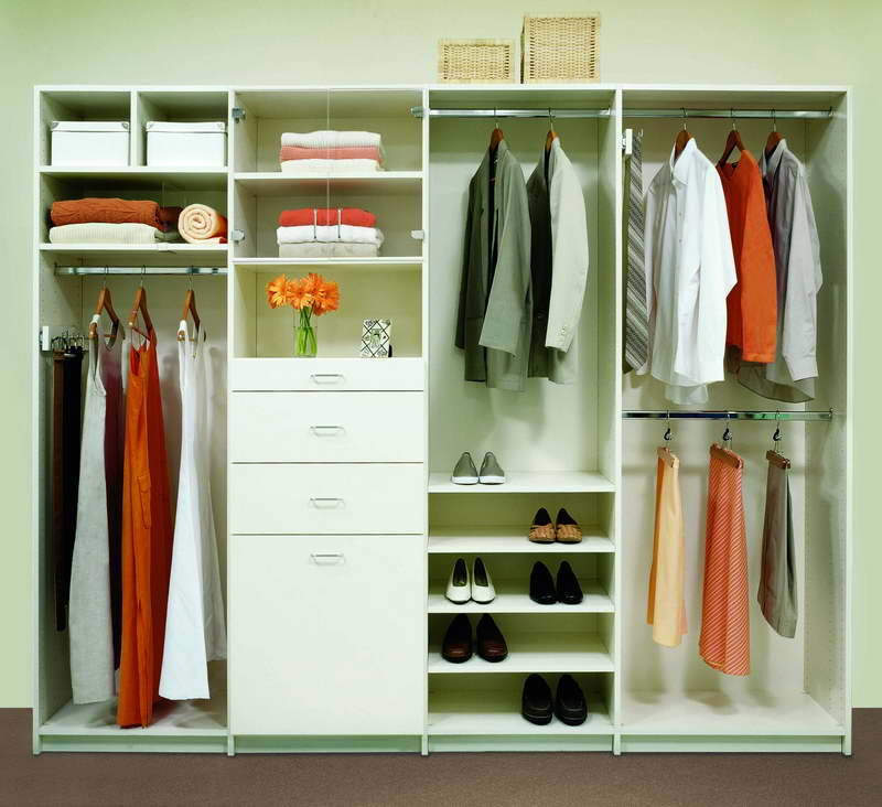 Easy Closet Organization Ideas For Bedroom With Hanging Rods And Shoe Organizer Drawer
