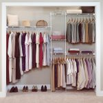 easy closet organization ideas for modern outlook with hanging rods and wall mounted shelf and area rug floor