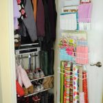 easy closet organization ideas for small closet and hanging rod and rack organizer attached on the door and shoe rack plus wooden floor