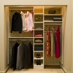 easy closet organization ideas for small closet with hanging rod under the shelves and bag storage  plus modern rug and wooden floor