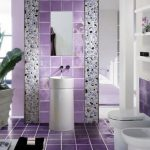 eclectic purple bathroom idea with tile wall and floor and freestanding whit vanity with rectangle wall mirror and potted plant