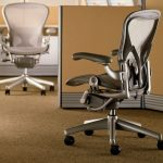 executive adjustable herman miller aeron parts gray swivel chair with medium size b  with posturfit design and leather arms