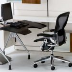 executive adjustable herman miller aeron parts swivel chair with medium size b and aluminum frame posturfit support and leather arms for home office and modern computer desk