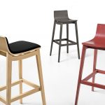 fashionable  upholstered bar stool  design with minimal backs in black red and gray colors with modern legs and footrest