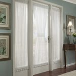 french front door window curtains and front door window coverings plus front door window treatments with white curtain and hardwood floor and wooden side table plus rug