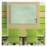 fresh greeen office meeting room design with soft green glass dry erase board from ikea with green wall pattern and green chairs and table