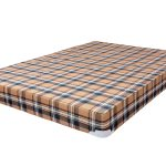 gorgeous mediterranian bunkie board design with adorable plaid pattern on the fabric with corner metal accent for safety