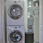 Gorgeous White Laundry Room Design With Corner Storage Idea With Small Stackable Washer Dryer Combo Design And Modern Lighting