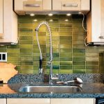 green rustic backsplash