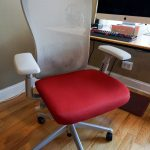 Haworth Very Task Chair In Red And Gray Together With Wooden Computer Desk And Monitore Plus Hardwood Floor For Small Home Office