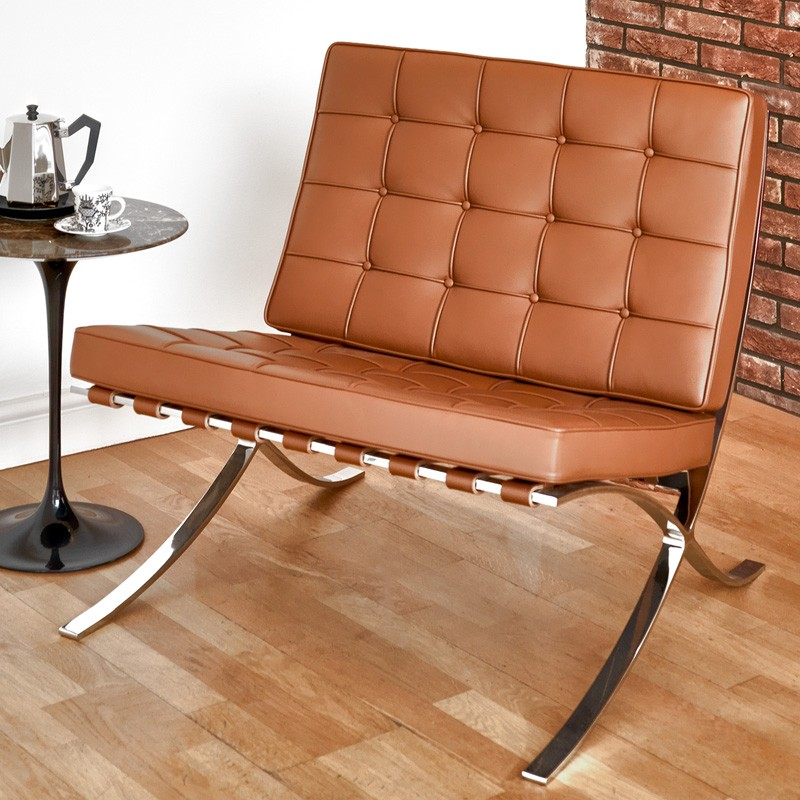Impressive Tufted Barcelona Chair Knock Off And Stainless Steel Frame With Light Brown Leather Round