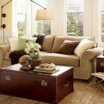 inspiring pottery barn sofa reviews for living room with creative coffee table in box shape plus reading lamp and brown rug and candleholders