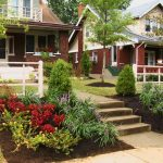 landscaping ideas for front of house with beautiful plant and trees and concrete walkways and fence