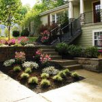 landscaping ideas for front of house with stairs and concrete floor and bed slope