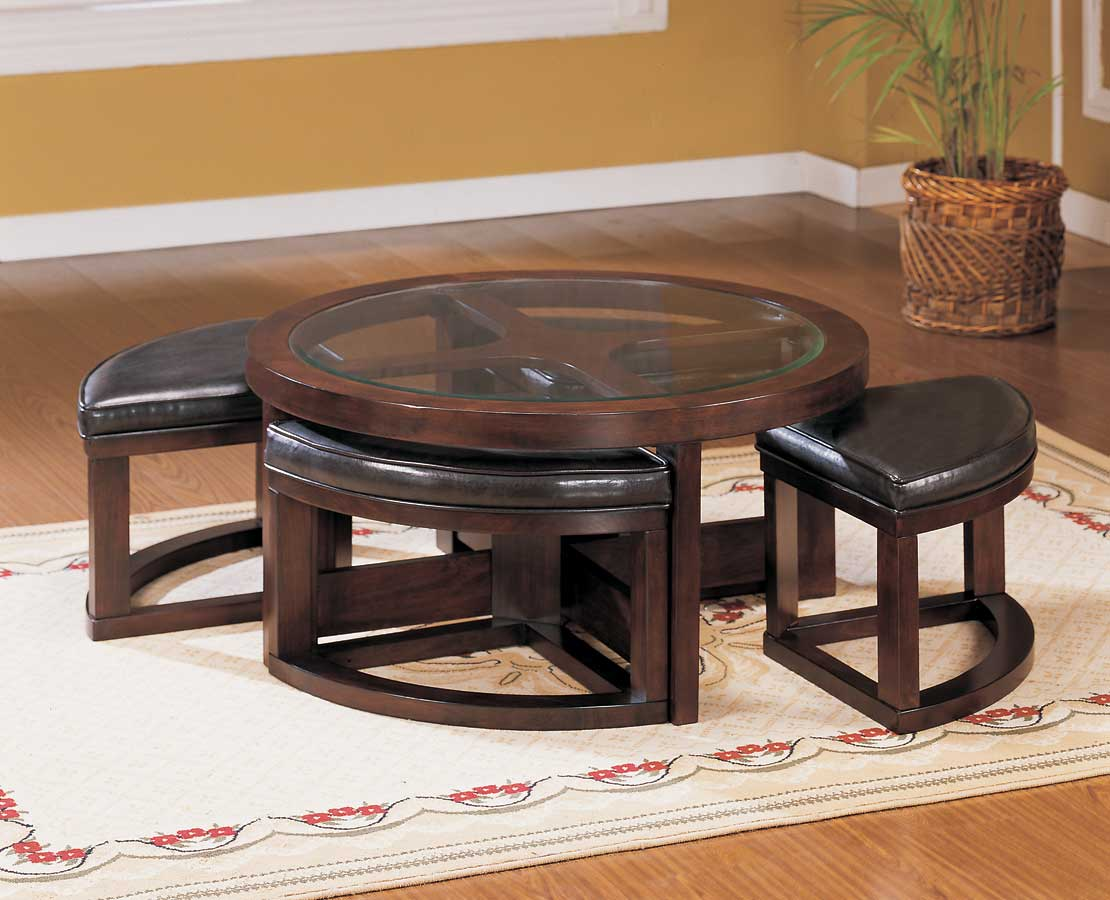 Mahogany Coffee Table With Ottoman Seating In Brown Feat Modern Rug And Wooden Floor Plus Plant