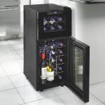 minimalist dual temp wine cooler design with small and large transparent door and upper and lower storage