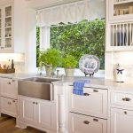modern and fresh kitchen ideas with greenhouse windows for kitchen above kitchen sink with some greenert and decorative element plus white kitchen cabinet