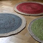 modern idea of colorful jute rug design in green blue and red colors with white accent on wooden floor