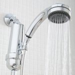 modern stainless steel best shower filter for hair design with curved handle stacked on white brick wall idea with strong water flow
