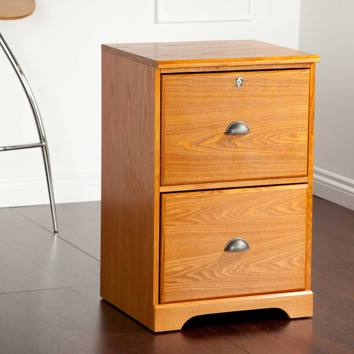 Natural Wooden File Cabinet Ikea Design With Double Draweretal Handle On Hardwood Floor
