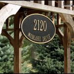 new idea of address plaques for home design with hanging style and black oval wooden board stacked on wooden poles