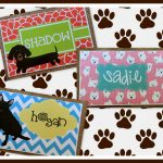 playful personalized dog mats design with red pink and blue color and dog and chevron pattern with dog steps
