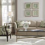 Pottery Barn Sofa Reviews With Pretty Cushions And Patterned Armchairs And Glass Top Coffee Table And Wooden End Table With Classy Table Lamp And Window Treatment