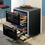 simple design of dual temp wine cooler design with triple drawers in big and small mode and side drawer with transparent style