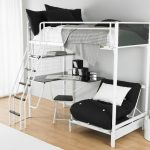 simple loft beds for teenage girl with metal bed frame combined with white black bedding set and desk underneath plus wooden laminate floor and rug