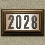 simple modern and elegant address plaques for home design with molding style on natural unfinished wall with 2028 number
