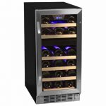 small and narrow dual temp wine cooler with one door and five racks inside the cooler with transparent door