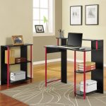 small black and red desks for bedrooms with hutch and file organizer plus photo frame and grey rug plus wooden floor
