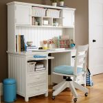small desks for bedrooms with drawers and a lot of storage plus blus trash can and wooden swivel chair and wooden floor