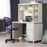 small white desks for bedrooms with storage and drawers and purple swivel chair and wooden floor