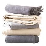 Smooth And Tender Cotton Sheet In Gray And Soft Pink Color For Blanket Even Bed Sheet In Modern Bedroom