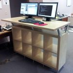 sophisticated ikea stand up desk design with storage and simple creamy top and computer sets in spacious  room with alternative desks