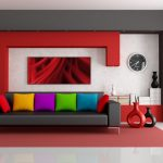 sophisticated modern gray sofa that turn into bed design with colorful cushions beneath white red wall accent and marroon area rug and artistic room decoration