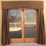 sophisticated window treatment valances for sliding glass doors with brown curtain and beautiful motif